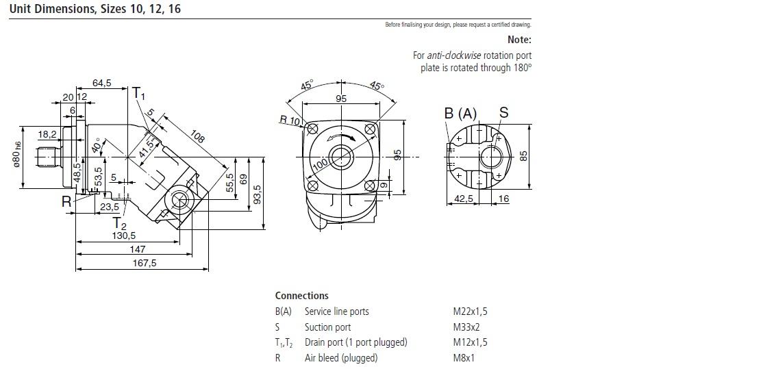 اندازه پمپ رکسروت A2FO12